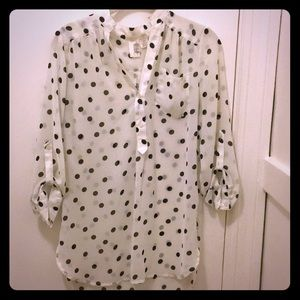 Pretty sheer polka dot blouse francesca's small